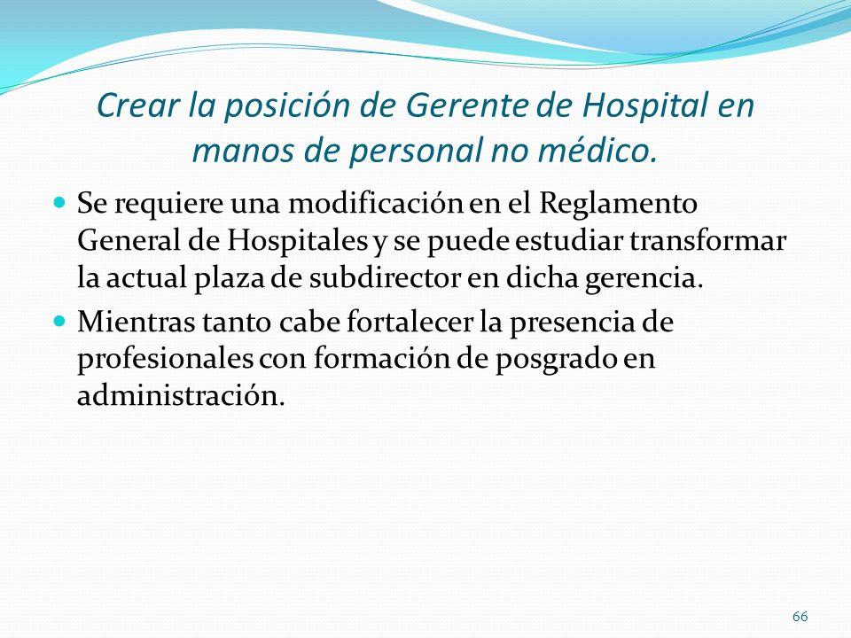 Crear la posición de Gerente de Hospital en manos de personal no médico.