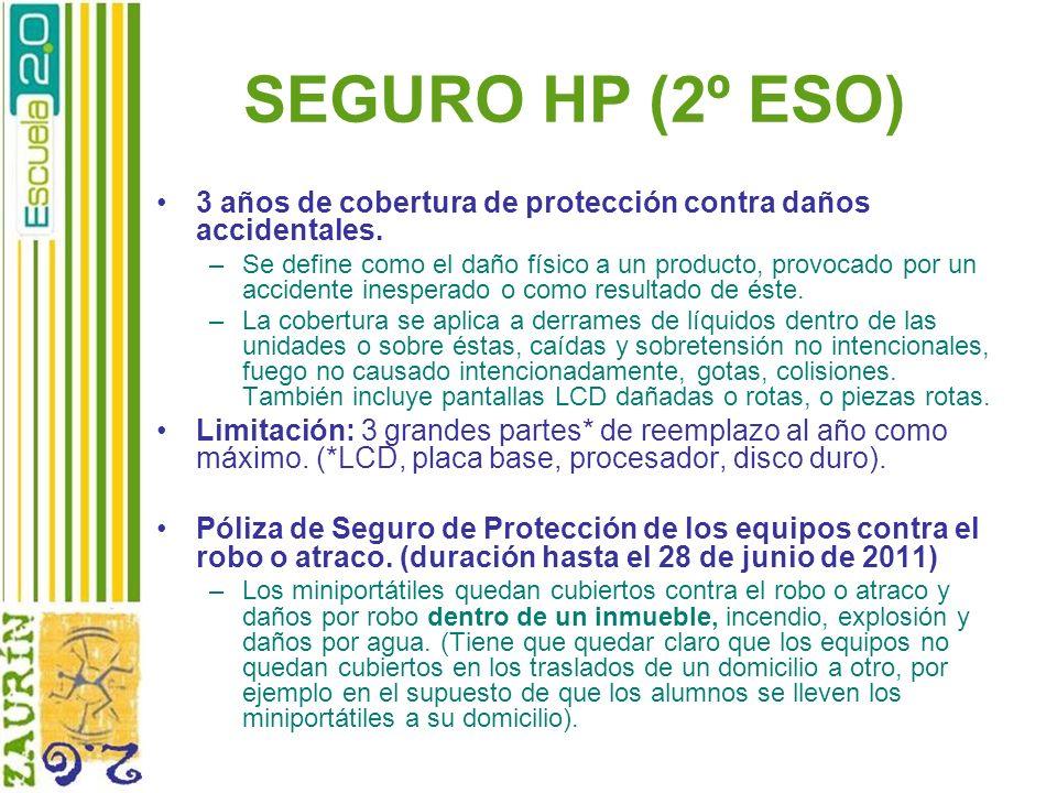 SEGURO HP (2º ESO) 3 años de cobertura de protección contra daños accidentales.