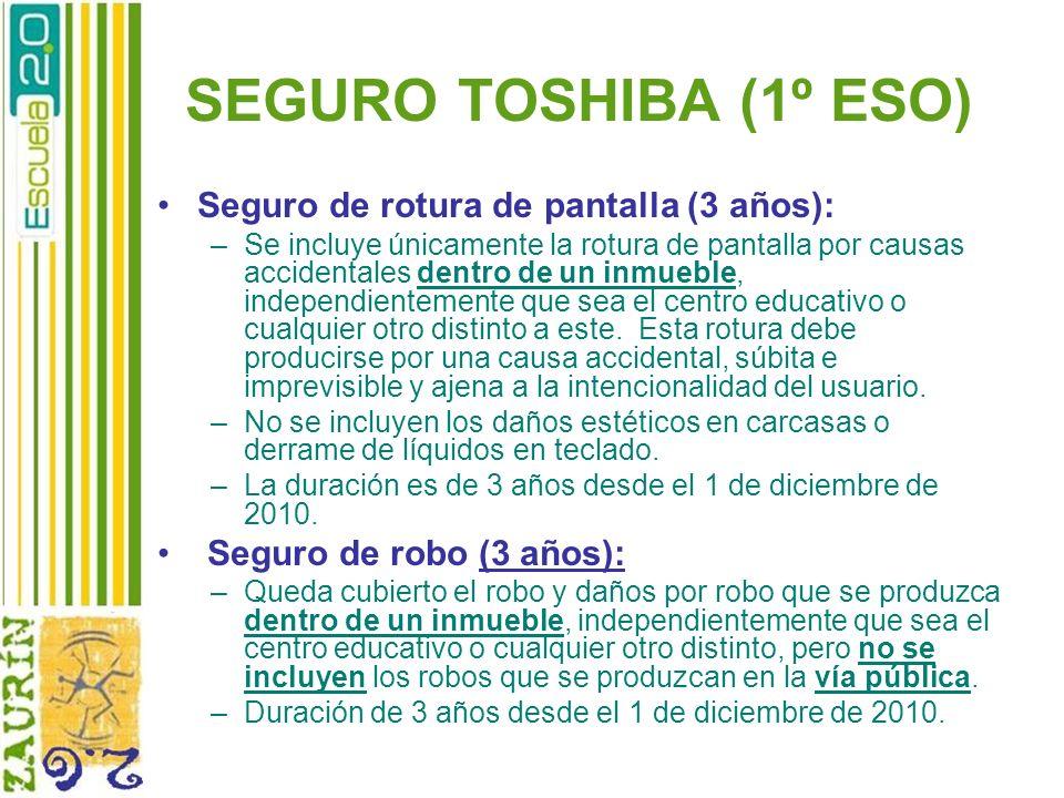SEGURO TOSHIBA (1º ESO) Seguro de rotura de pantalla (3 años):