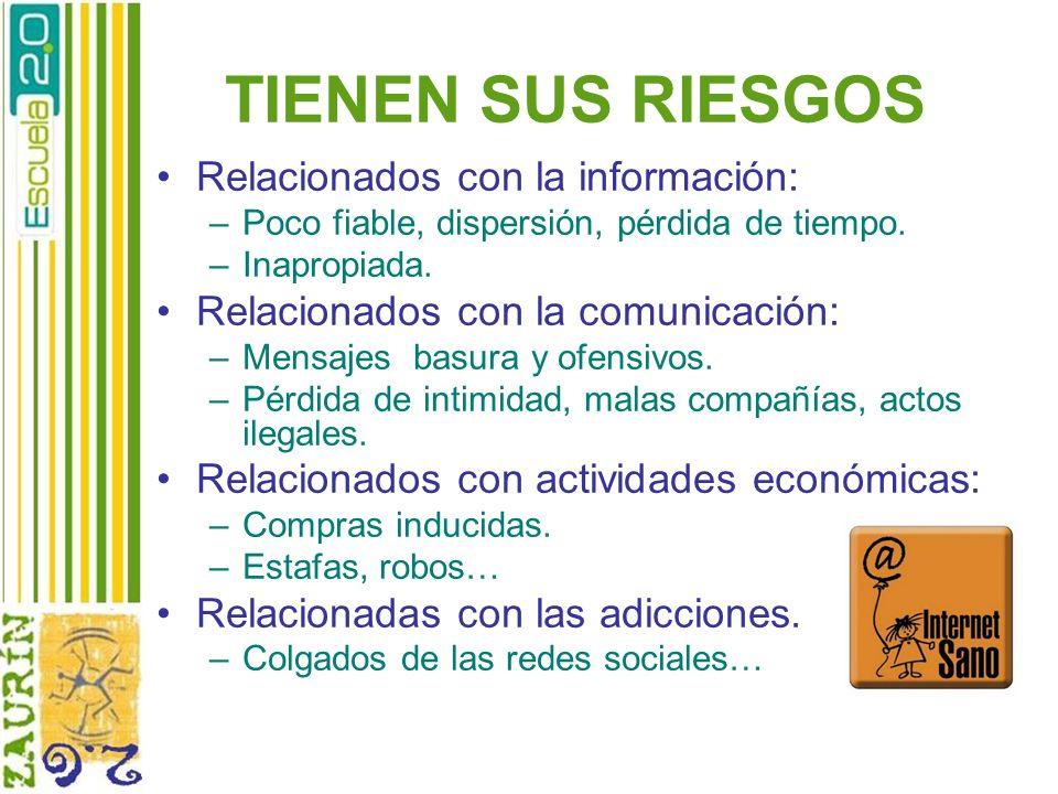 TIENEN SUS RIESGOS Relacionados con la información: