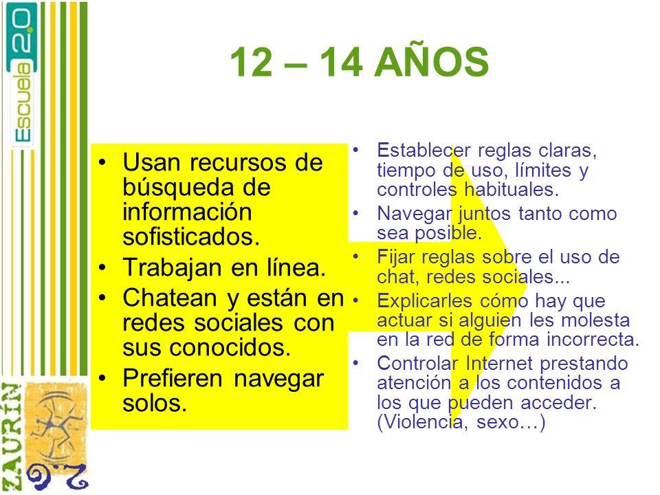 12 – 14 AÑOS Usan recursos de búsqueda de información sofisticados.