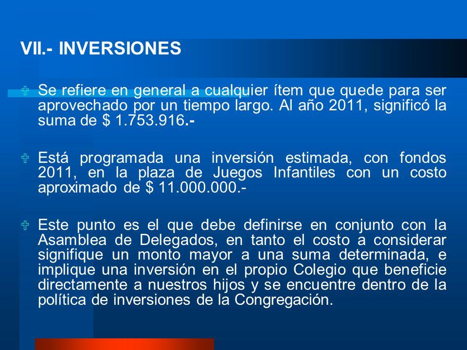 VII.- INVERSIONES