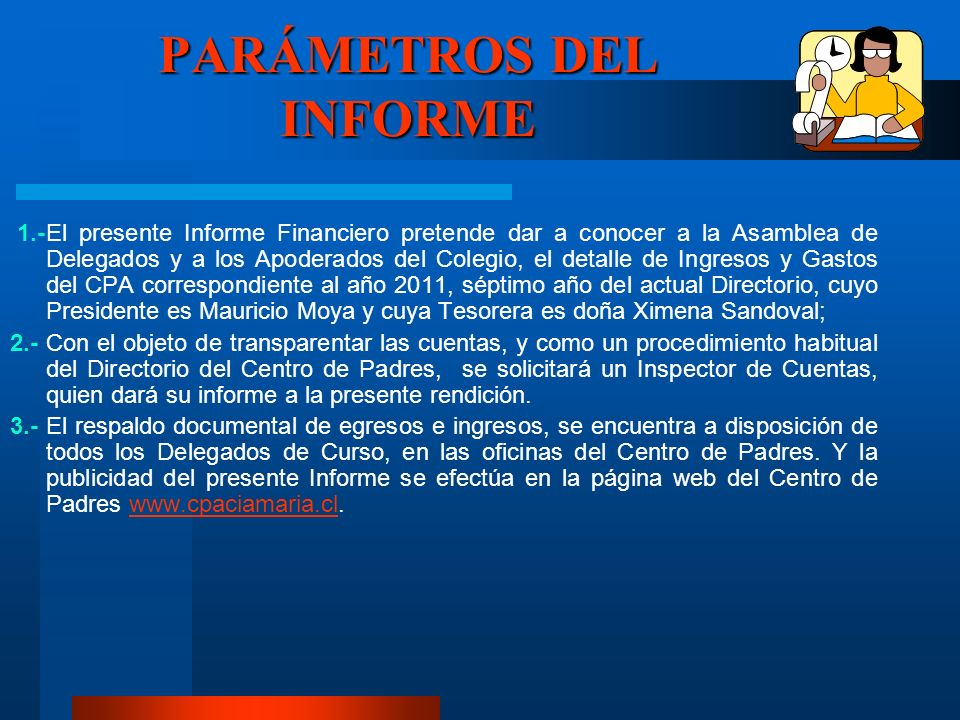 PARÁMETROS DEL INFORME