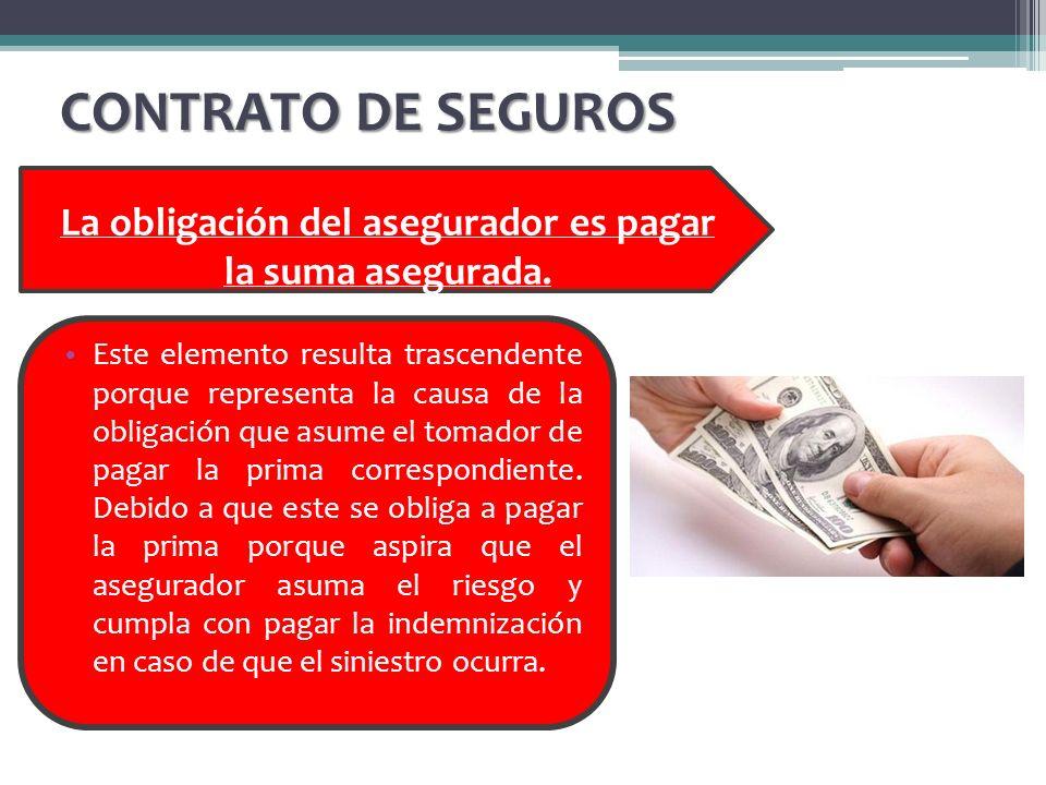 La obligación del asegurador es pagar la suma asegurada.