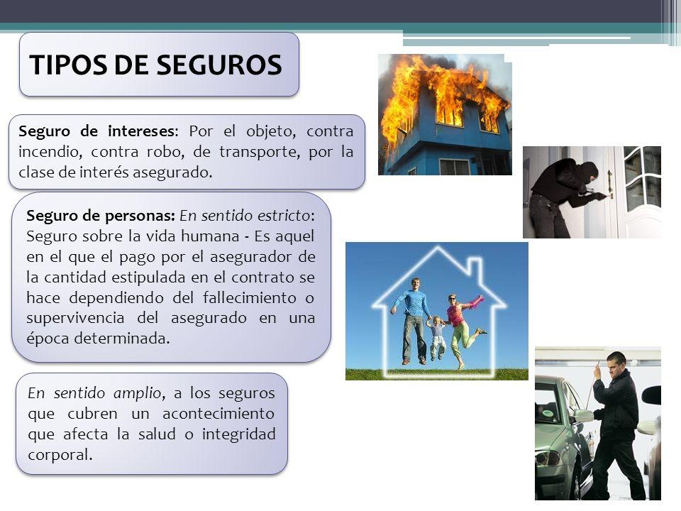 TIPOS DE SEGUROS Seguro de intereses: Por el objeto, contra incendio, contra robo, de transporte, por la clase de interés asegurado.