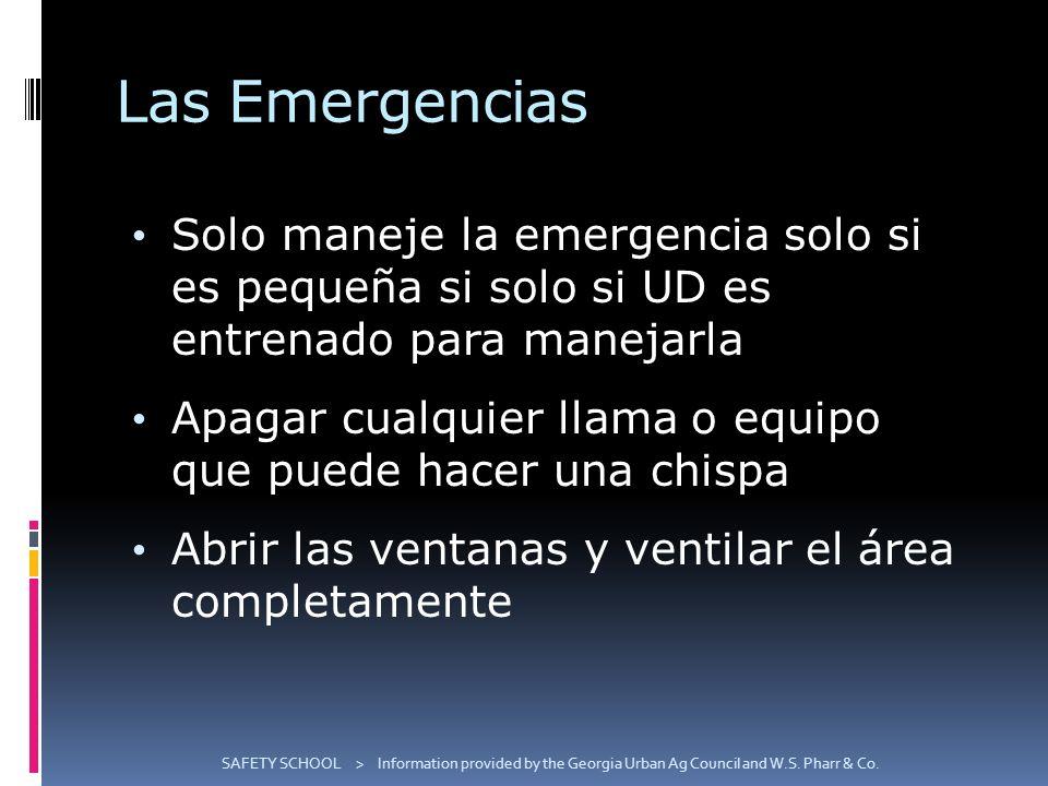 Las Emergencias Solo maneje la emergencia solo si es pequeña si solo si UD es entrenado para manejarla.