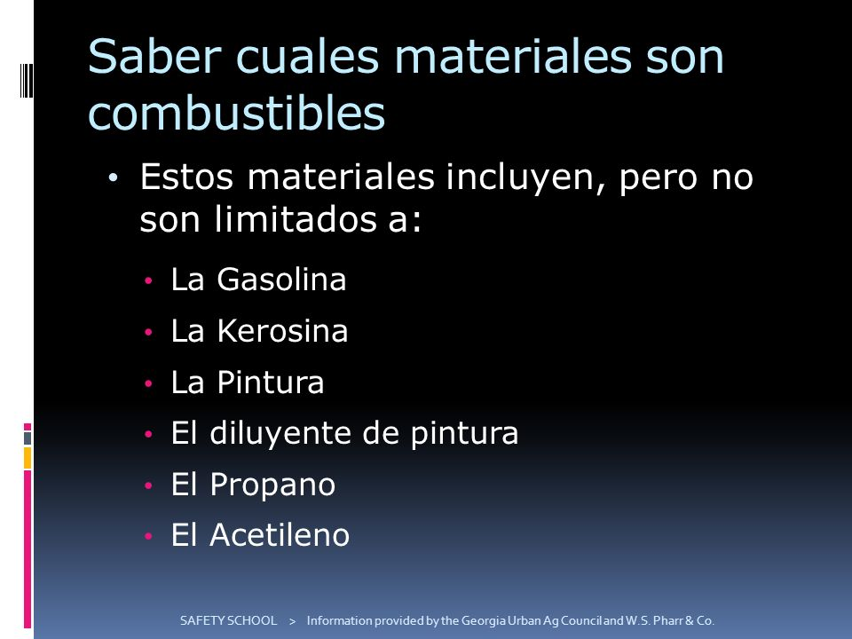 Saber cuales materiales son combustibles