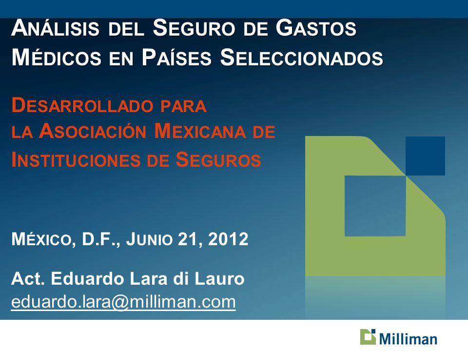 Análisis del Seguro de Gastos Médicos en Países Seleccionados Desarrollado para la Asociación Mexicana de Instituciones de Seguros México, D.F., Junio 21, 2012 Act.