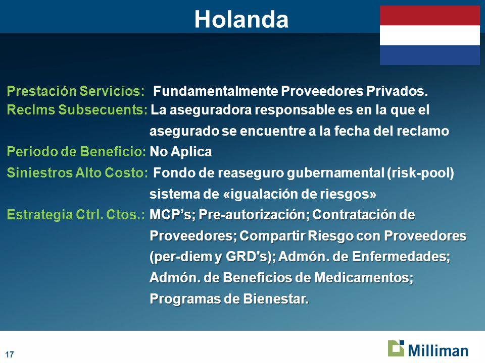 Holanda Prestación Servicios: Fundamentalmente Proveedores Privados.