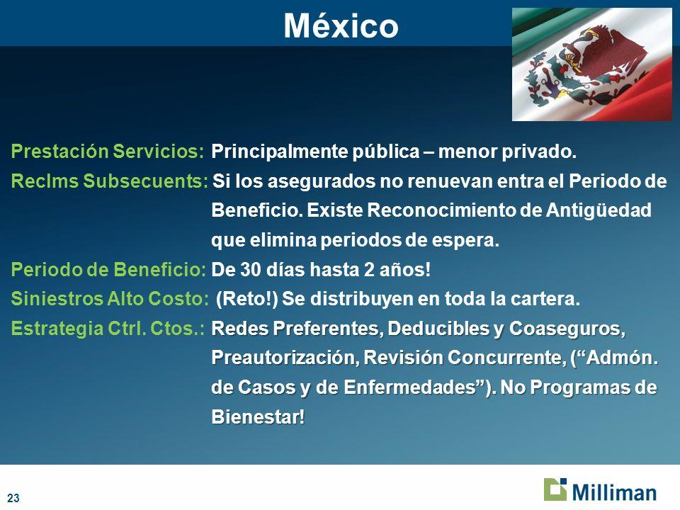 México Prestación Servicios: Principalmente pública – menor privado.