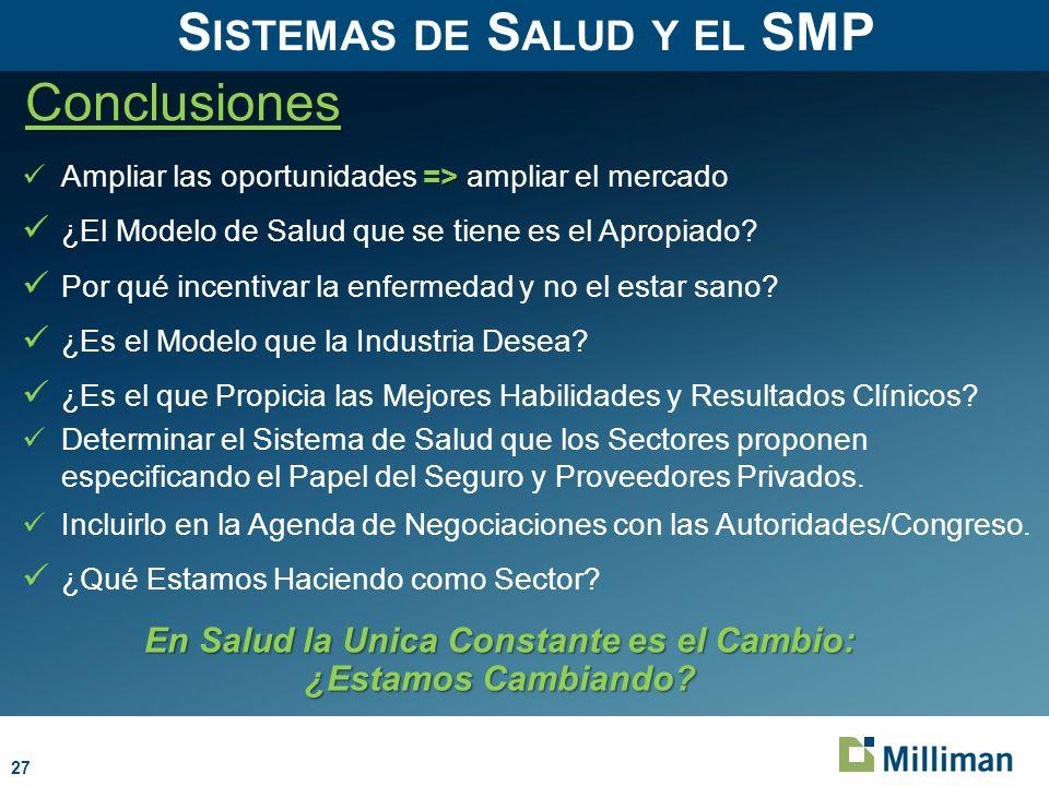 Sistemas de Salud y el SMP En Salud la Unica Constante es el Cambio: