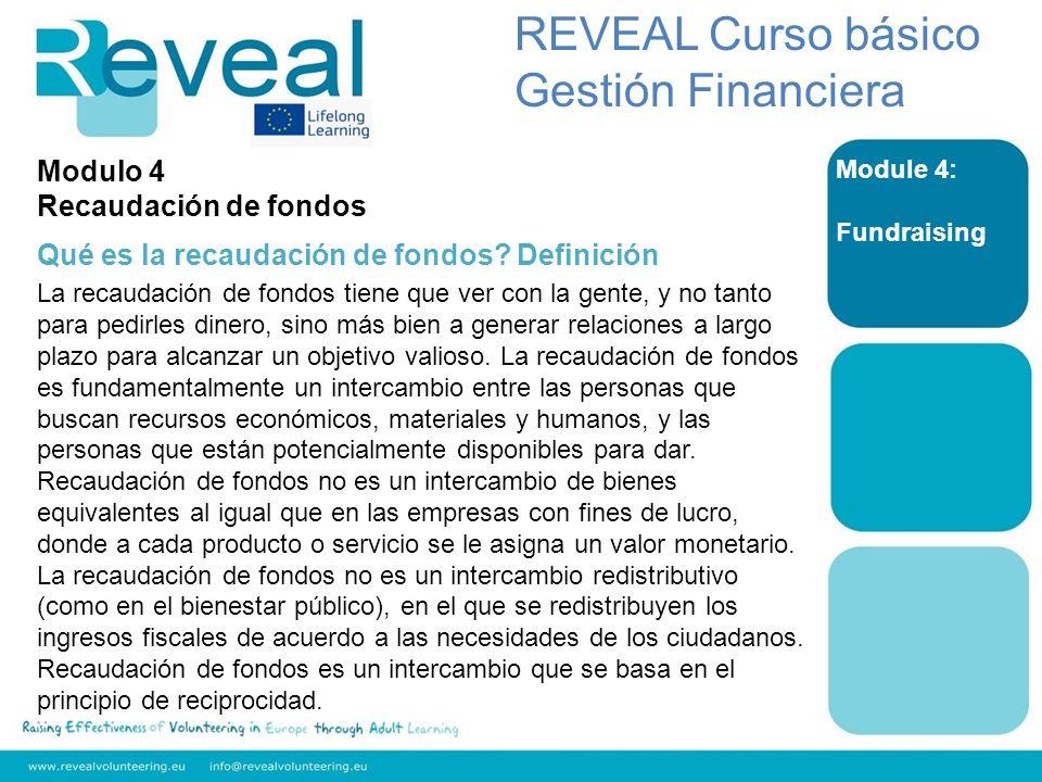 REVEAL Curso básico Gestión Financiera Modulo 4 Recaudación de fondos