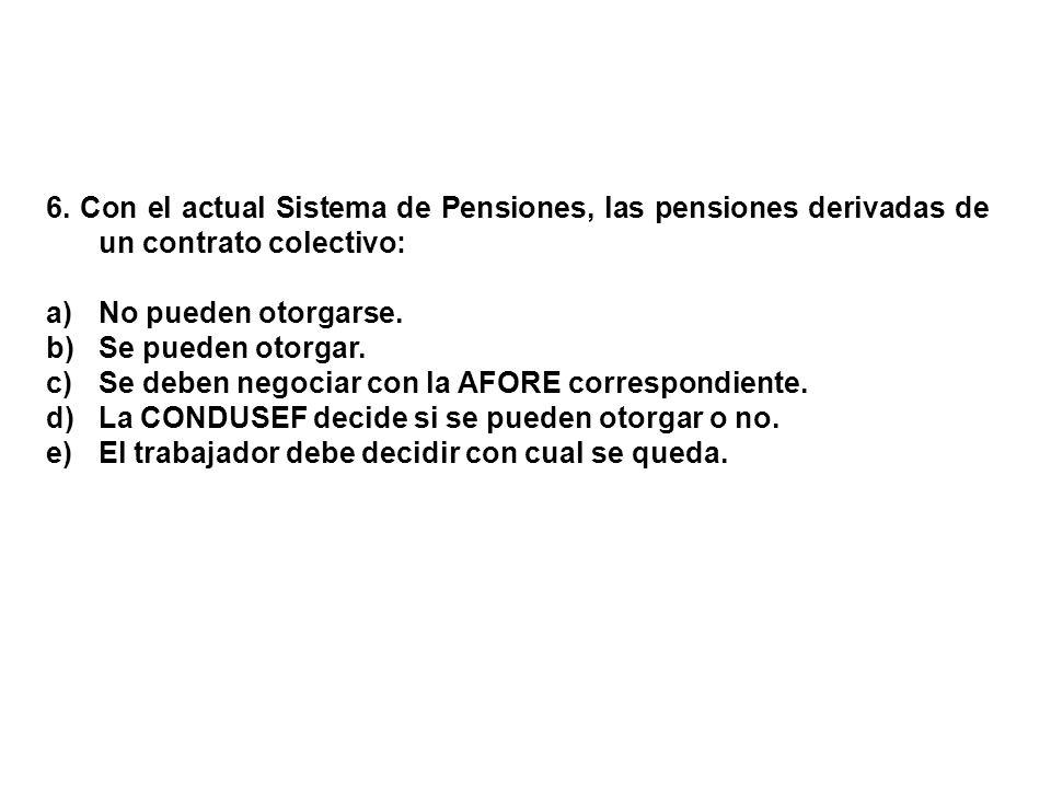 6. Con el actual Sistema de Pensiones, las pensiones derivadas de un contrato colectivo: