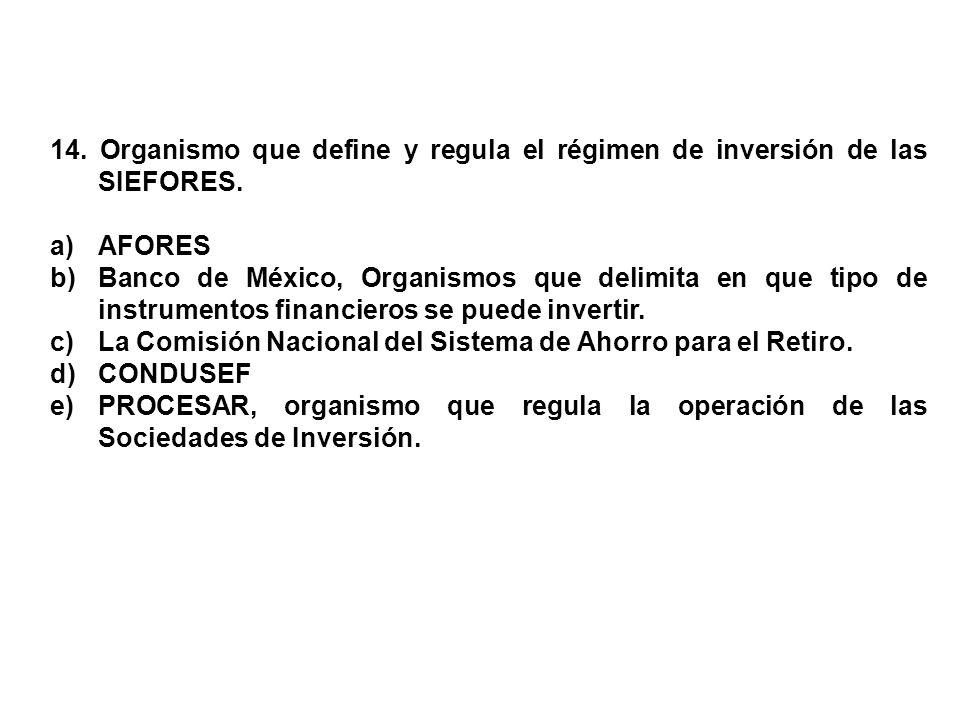 14. Organismo que define y regula el régimen de inversión de las SIEFORES.