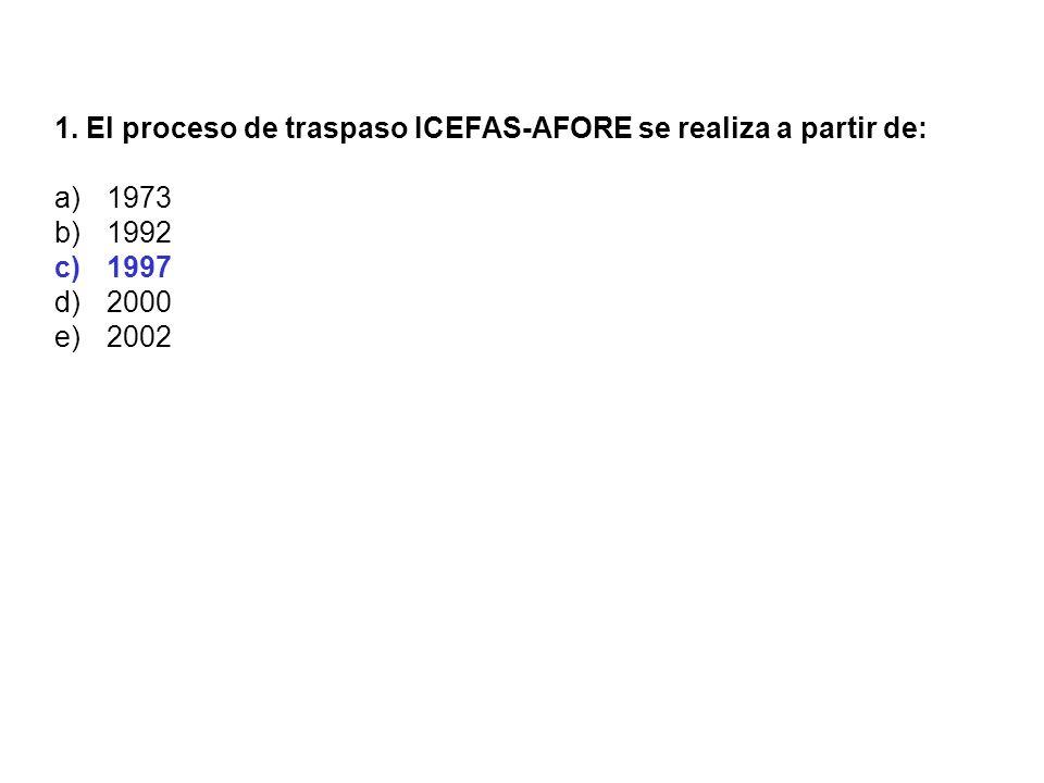 1. El proceso de traspaso ICEFAS-AFORE se realiza a partir de: