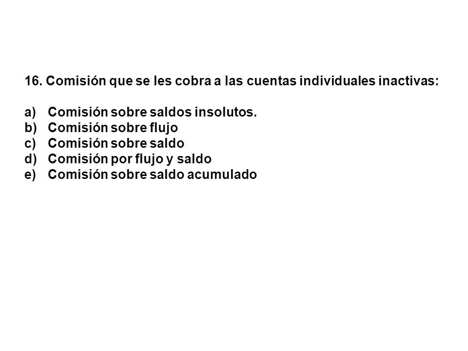 16. Comisión que se les cobra a las cuentas individuales inactivas: