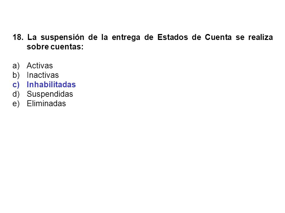 18. La suspensión de la entrega de Estados de Cuenta se realiza sobre cuentas: