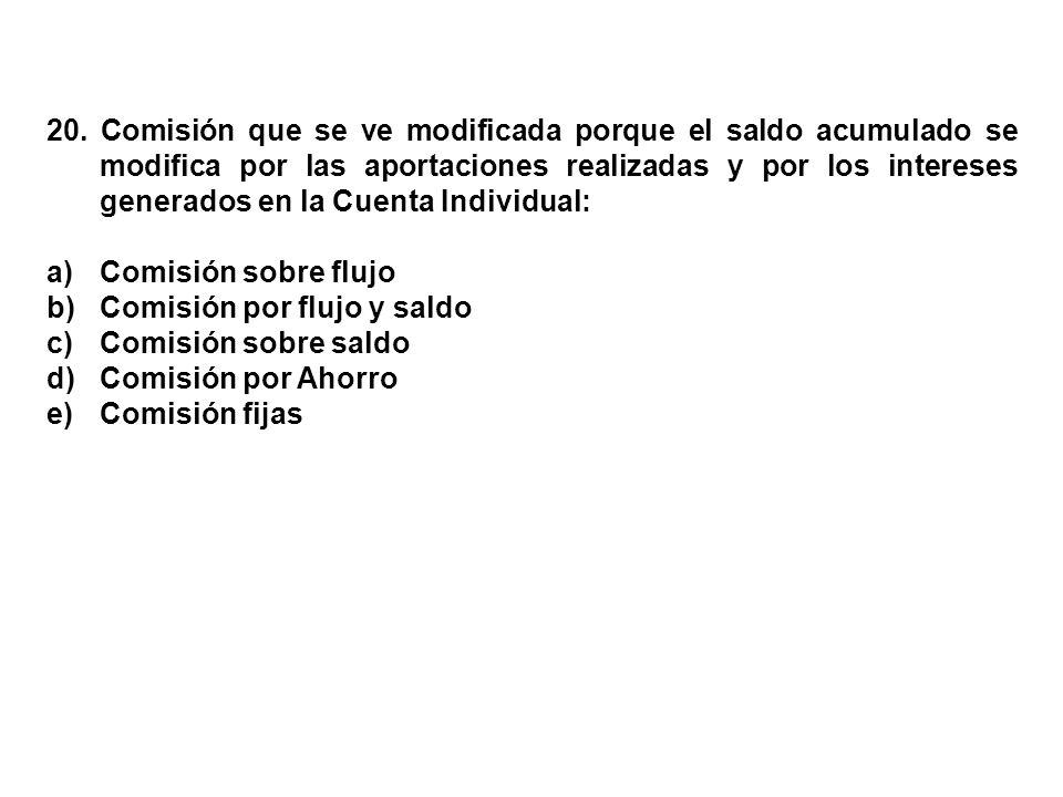20. Comisión que se ve modificada porque el saldo acumulado se modifica por las aportaciones realizadas y por los intereses generados en la Cuenta Individual:
