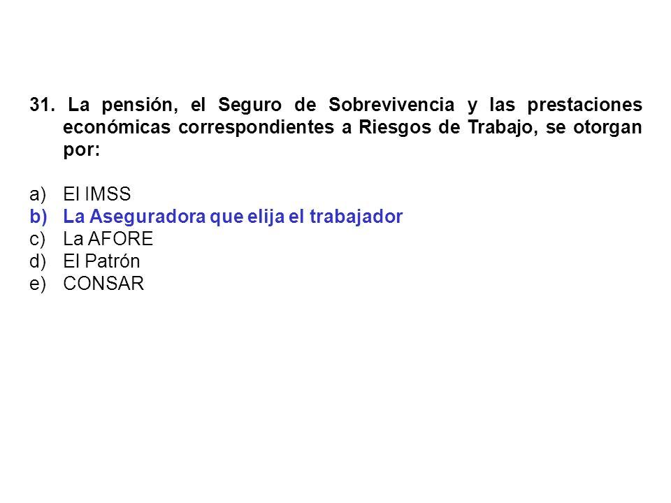 31. La pensión, el Seguro de Sobrevivencia y las prestaciones económicas correspondientes a Riesgos de Trabajo, se otorgan por:
