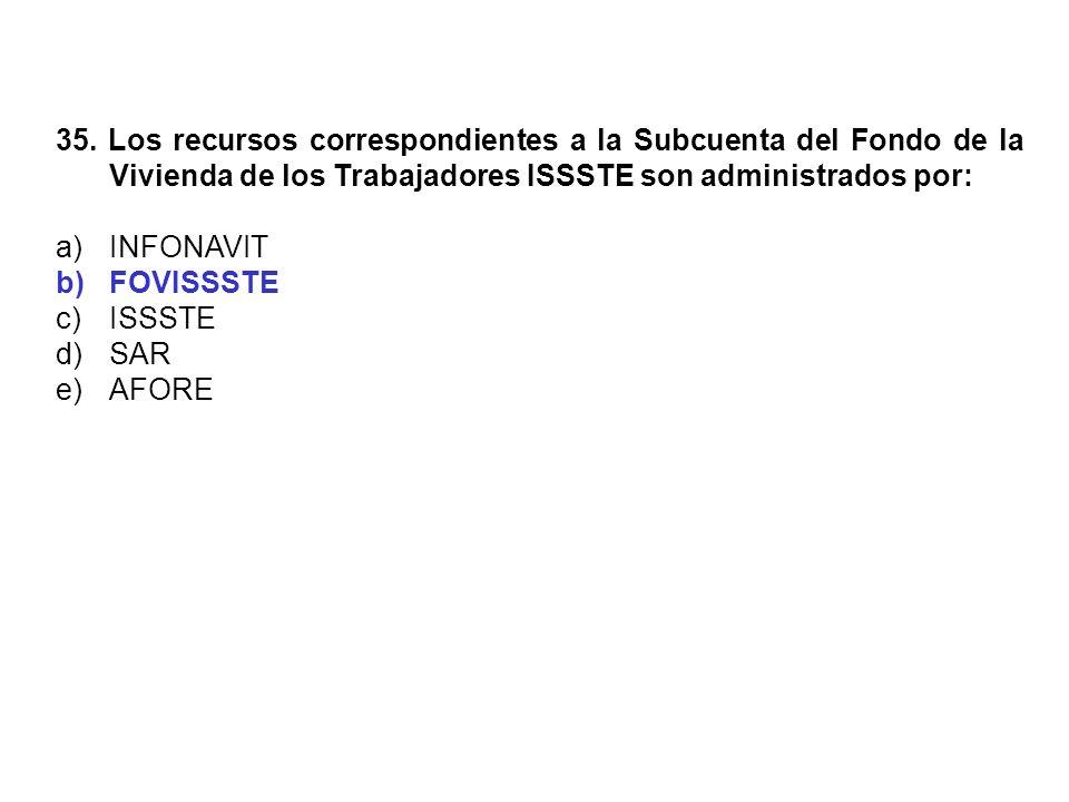 35. Los recursos correspondientes a la Subcuenta del Fondo de la Vivienda de los Trabajadores ISSSTE son administrados por: