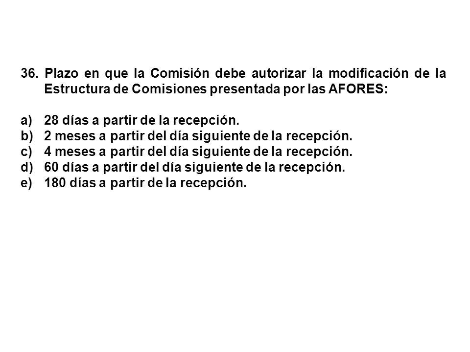 36. Plazo en que la Comisión debe autorizar la modificación de la Estructura de Comisiones presentada por las AFORES: