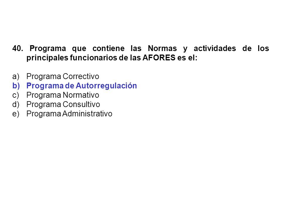 40. Programa que contiene las Normas y actividades de los principales funcionarios de las AFORES es el: