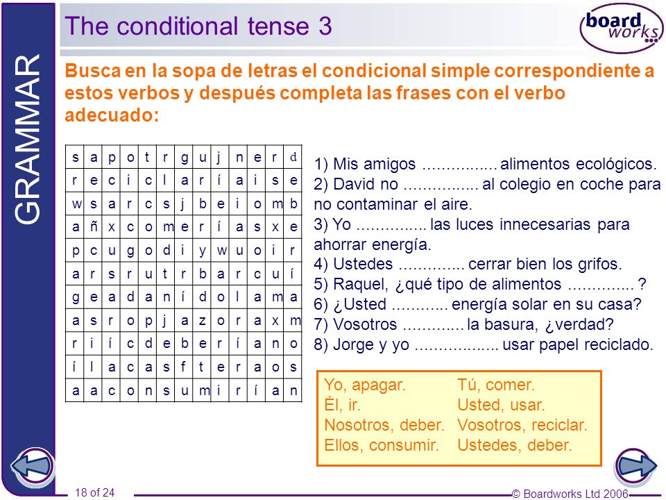 The conditional tense 3