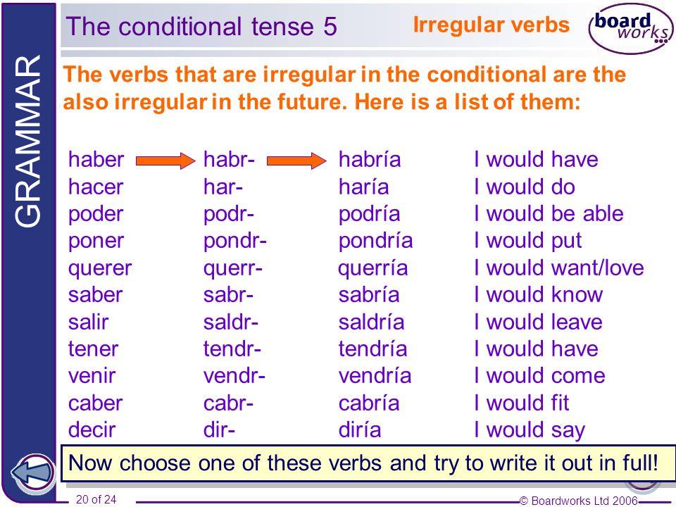 The conditional tense 5 Irregular verbs