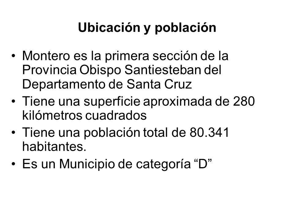Ubicación y población Montero es la primera sección de la Provincia Obispo Santiesteban del Departamento de Santa Cruz.