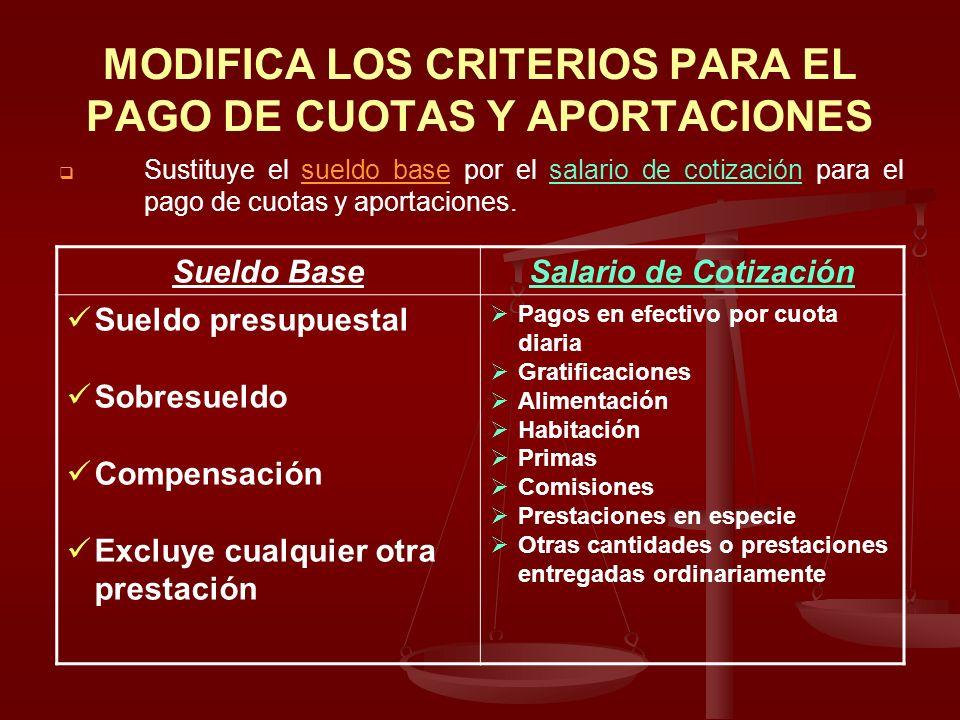 MODIFICA LOS CRITERIOS PARA EL PAGO DE CUOTAS Y APORTACIONES