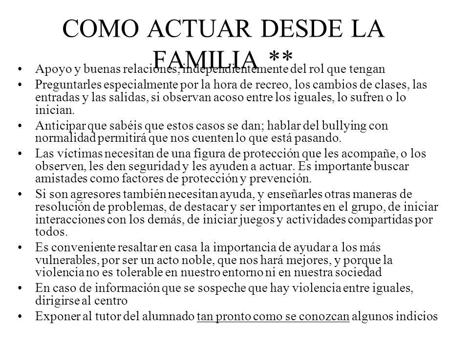 COMO ACTUAR DESDE LA FAMILIA **