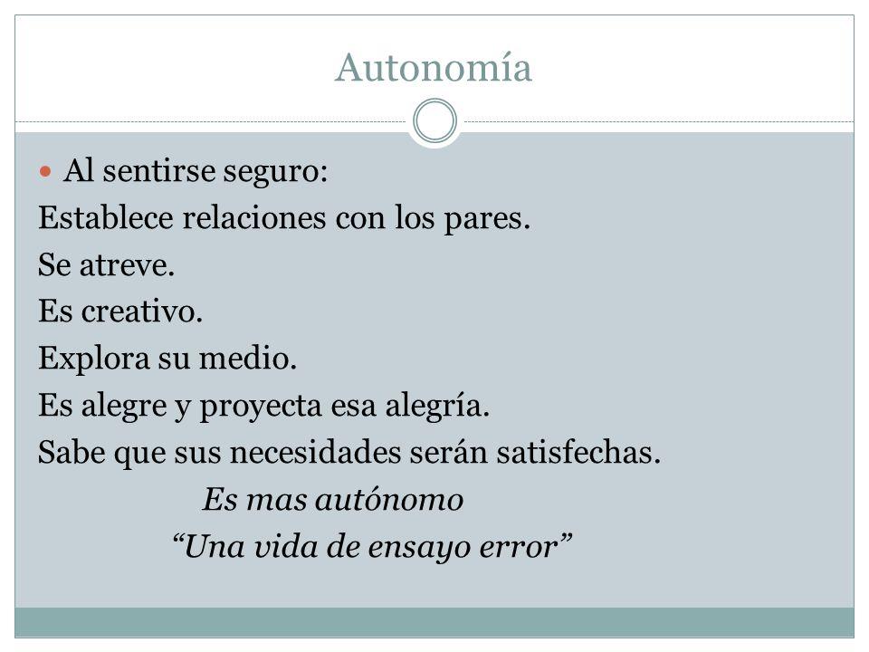 Autonomía Al sentirse seguro: Establece relaciones con los pares.