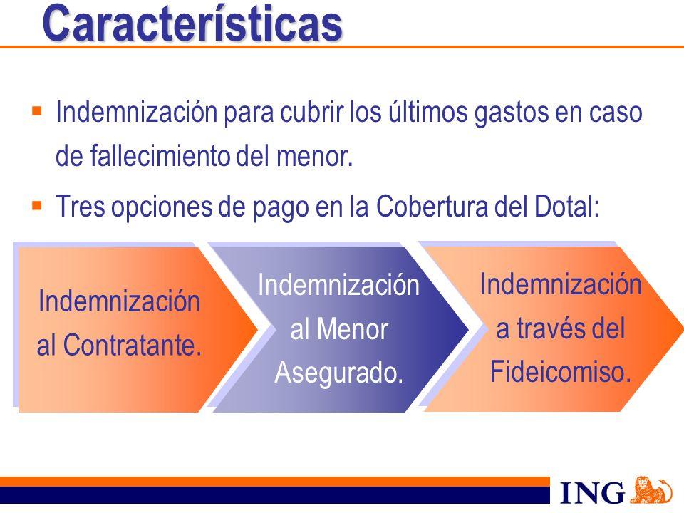 Características Indemnización para cubrir los últimos gastos en caso de fallecimiento del menor. Tres opciones de pago en la Cobertura del Dotal: