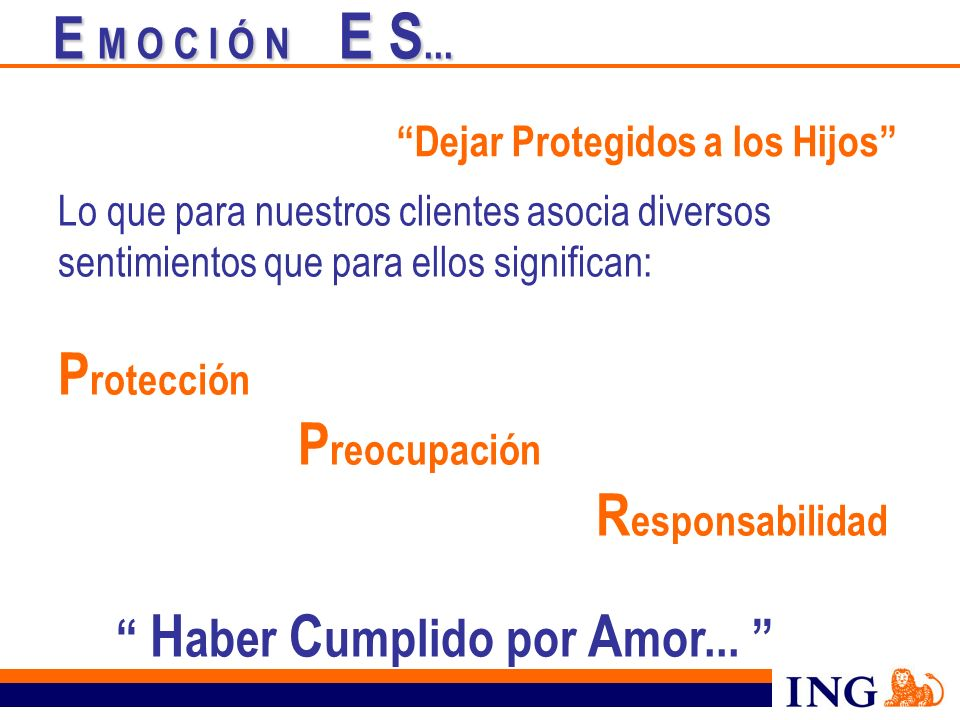 E M O C I Ó N E S... Protección Dejar Protegidos a los Hijos