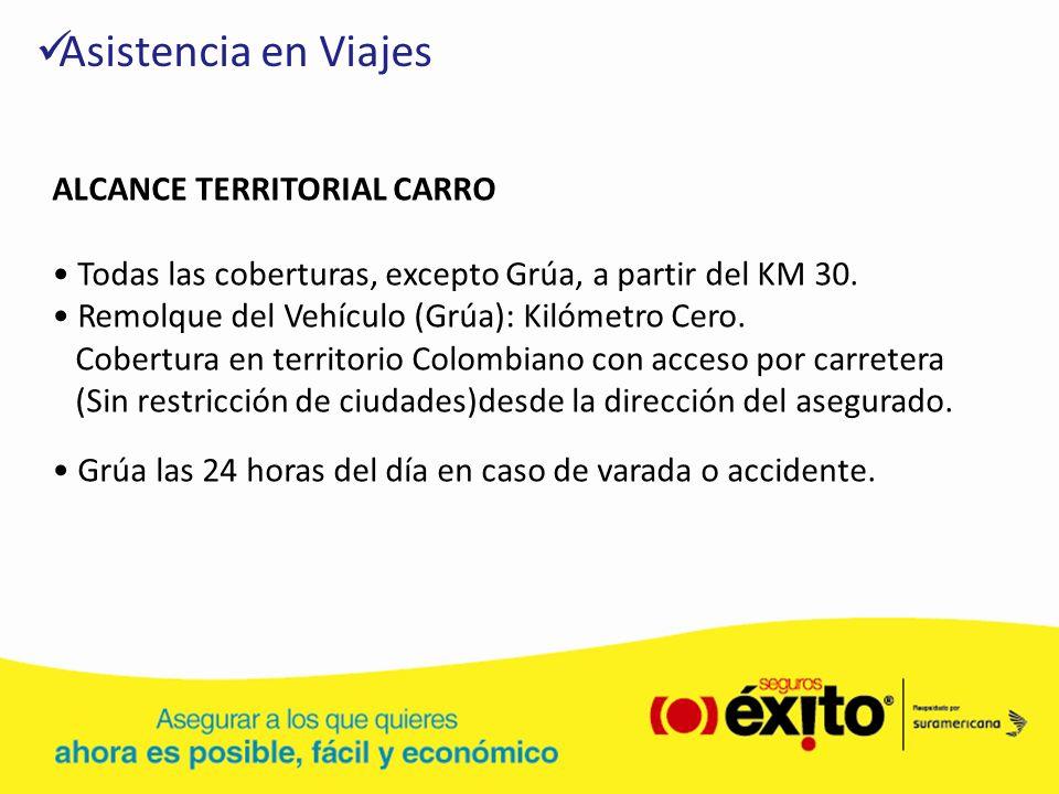 Asistencia en Viajes ALCANCE TERRITORIAL CARRO