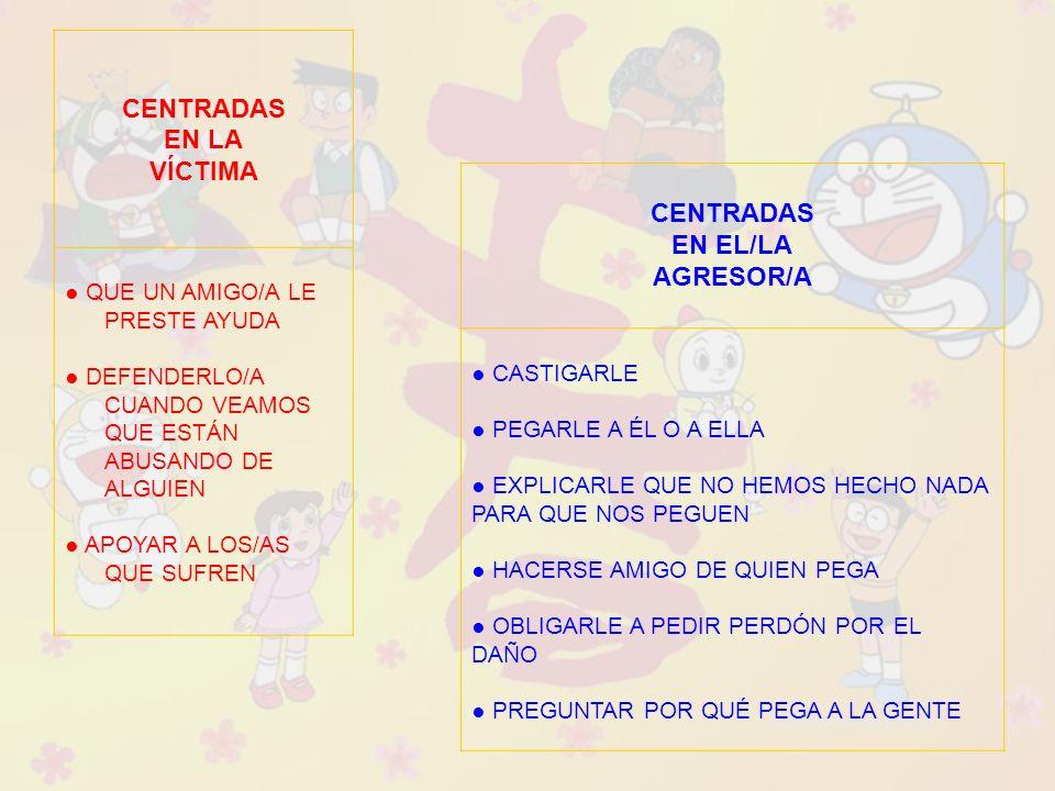 CENTRADAS EN LA VÍCTIMA CENTRADAS EN EL/LA AGRESOR/A