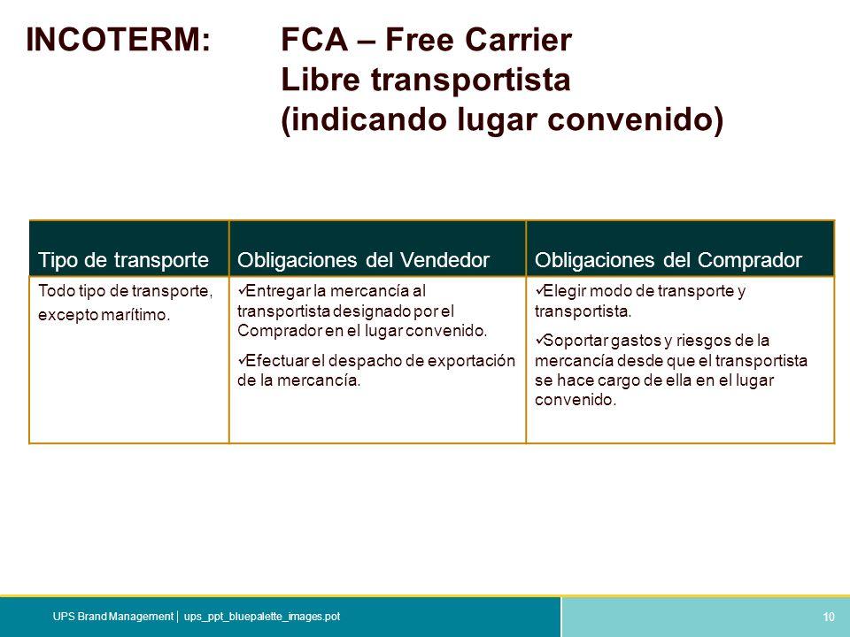 INCOTERM:. FCA – Free Carrier. Libre transportista