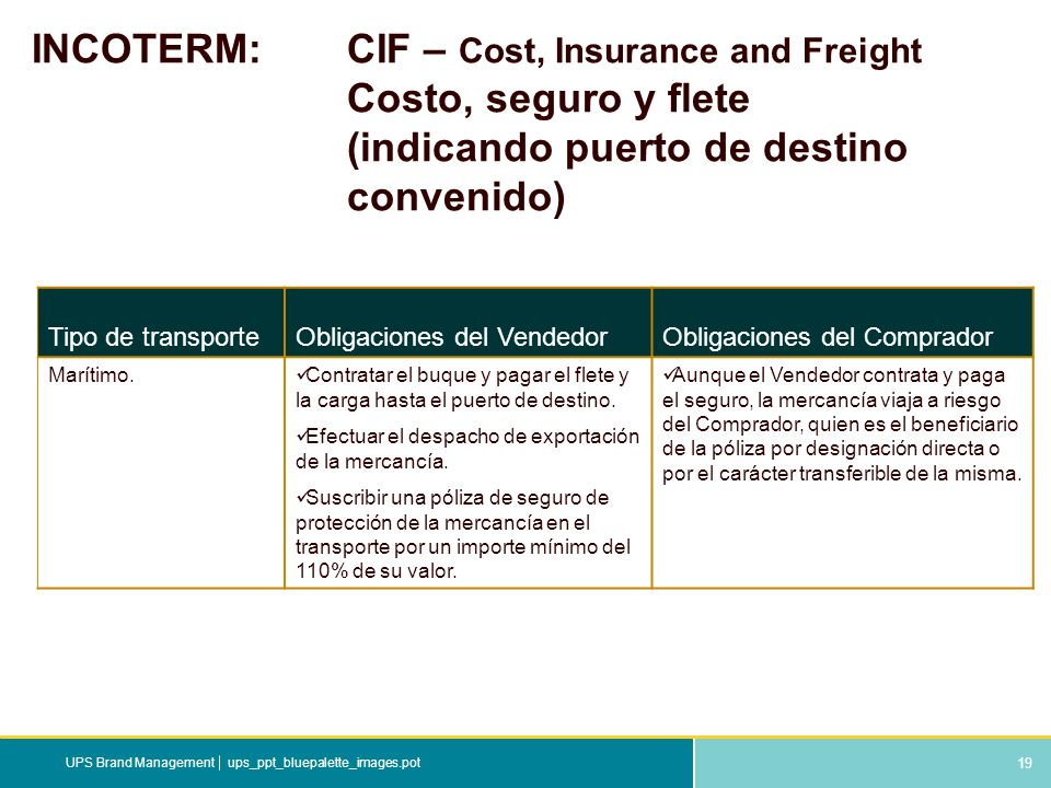 INCOTERM:. CIF – Cost, Insurance and Freight. Costo, seguro y flete