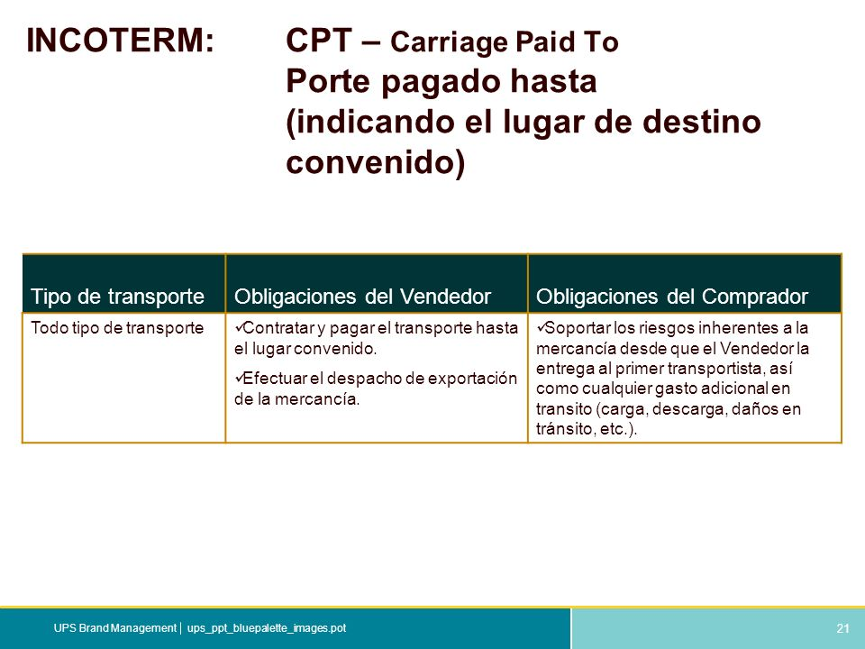 INCOTERM:. CPT – Carriage Paid To. Porte pagado hasta