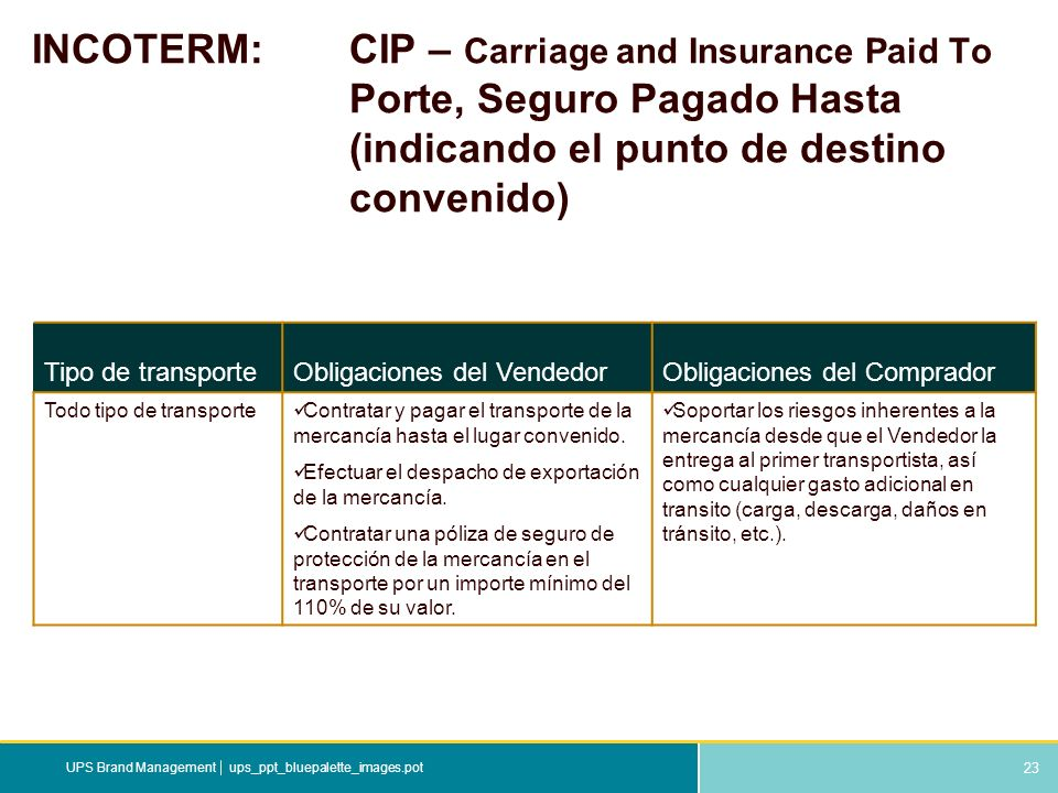 INCOTERM:. CIP – Carriage and Insurance Paid To