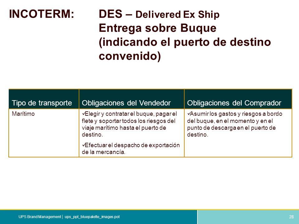 INCOTERM:. DES – Delivered Ex Ship. Entrega sobre Buque