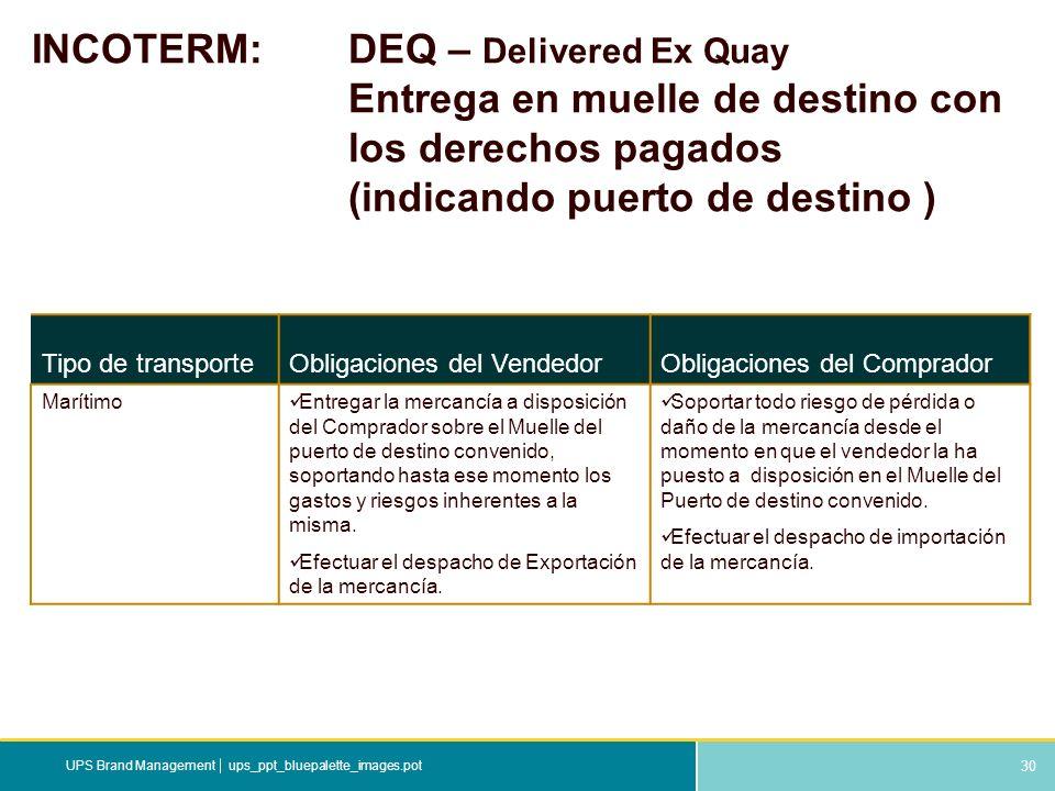 INCOTERM:. DEQ – Delivered Ex Quay. Entrega en muelle de destino con