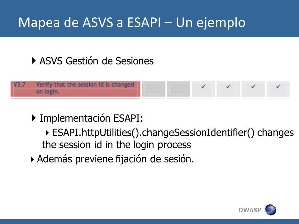 Mapea de ASVS a ESAPI – Un ejemplo