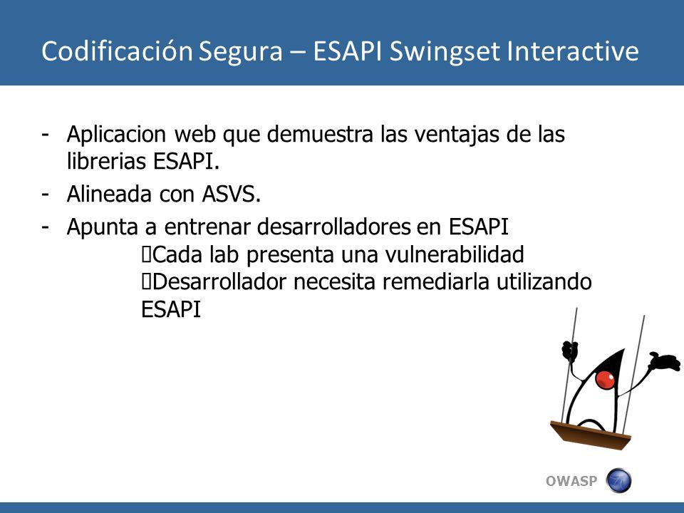 Codificación Segura – ESAPI Swingset Interactive