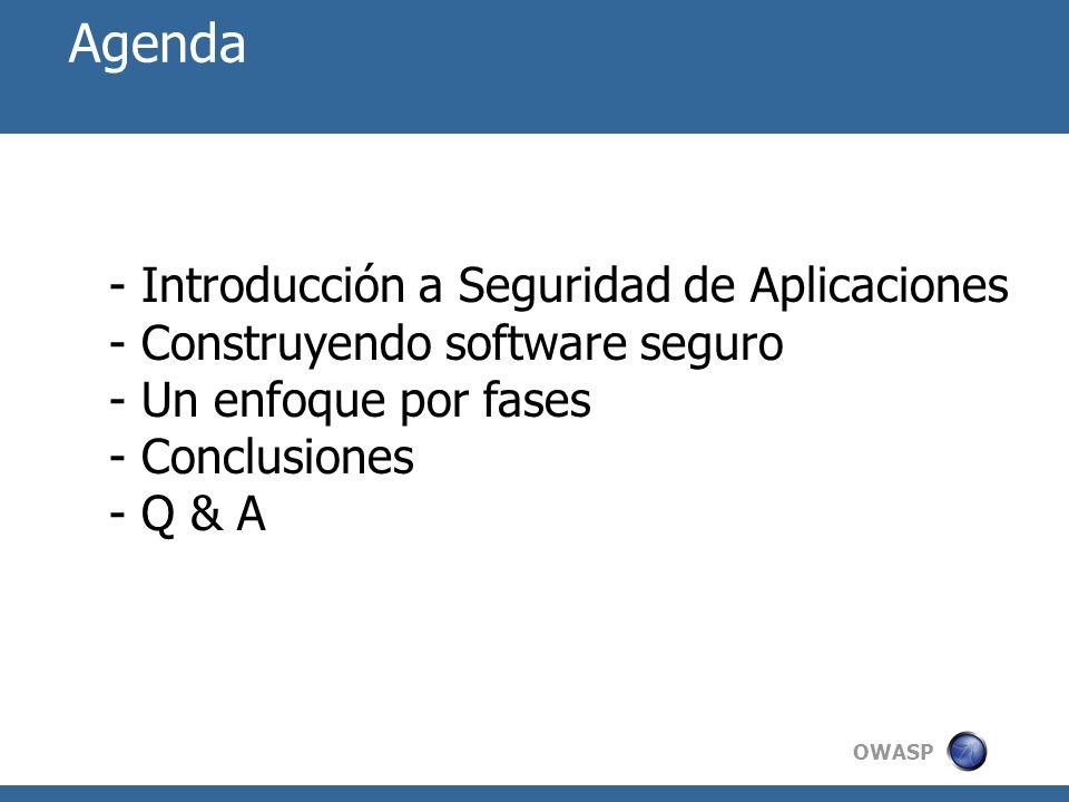 Agenda Introducción a Seguridad de Aplicaciones