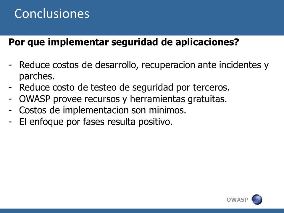 Conclusiones Por que implementar seguridad de aplicaciones