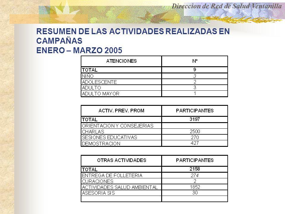 RESUMEN DE LAS ACTIVIDADES REALIZADAS EN CAMPAÑAS ENERO – MARZO 2005