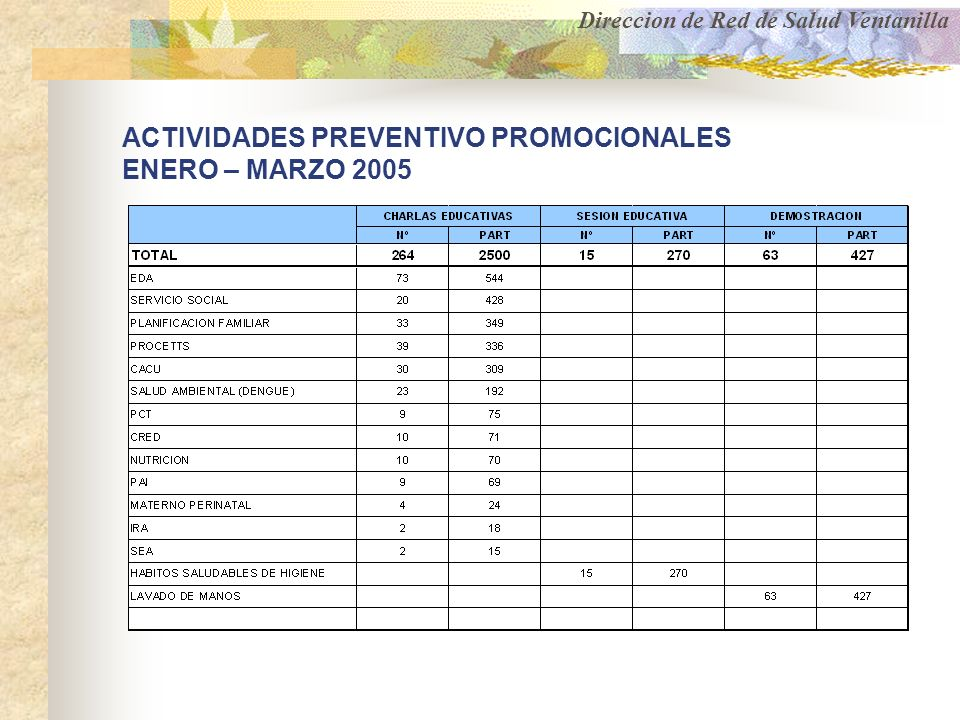 ACTIVIDADES PREVENTIVO PROMOCIONALES ENERO – MARZO 2005