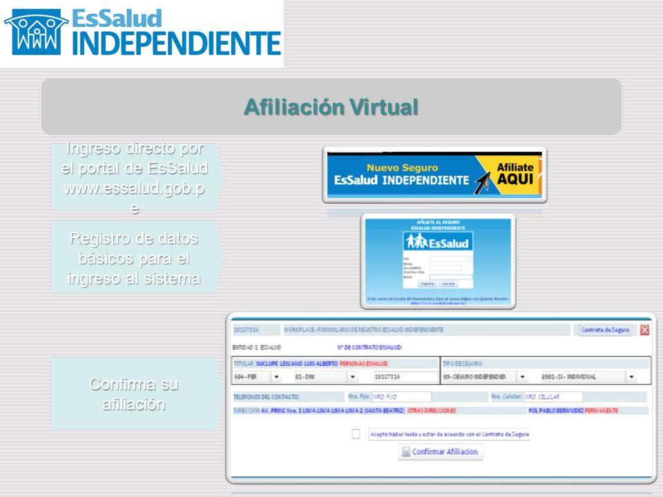 Afiliación Virtual Ingreso directo por el portal de EsSalud