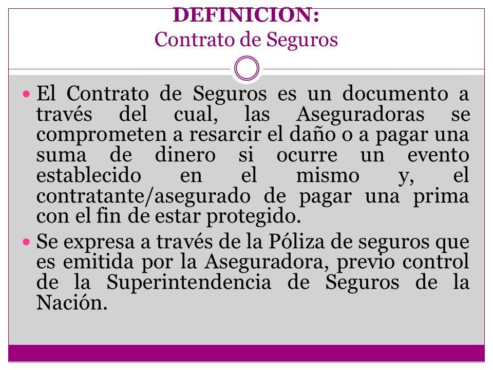DEFINICION: Contrato de Seguros